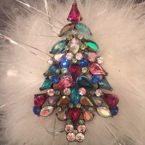 Multicolored Rhinestone Christmas Brooch